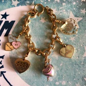 Juicy Couture Charm Bracelet with 5 Heart Charms ✨